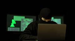 Dark Hacker with mask breaking code (HD) Stock Footage