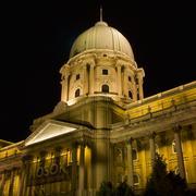 royal palace cupola at night, budapest - stock photo