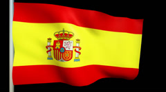 Spain flag animation blowing in the wind Stock Footage