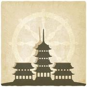 Buddhist temple old background - stock illustration