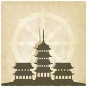 Buddhist temple old background Stock Illustration