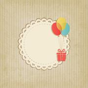 Gift on colored balloons retro striped background Stock Illustration