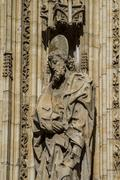 toledo, imperial city. sculptures on the facade of the cathedral - stock photo
