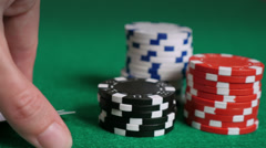 Pocket Aces, Poker, Stacked Chips and A Title Screen - stock footage