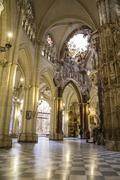 Stock Photo of majestic interior of the cathedral toledo, spain. declared world heritage sit