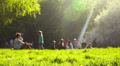 Sunny day in park, people, boy comes to mother, she hugs. Footage