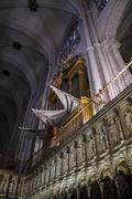organ.inside the cathedral of toledo, stained glass,chapel, imperial city. sp - stock photo