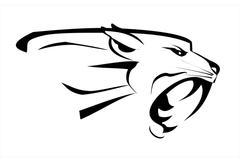 Stock Illustration of white tiger head, roaring