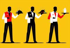 Waiter Parade  - stock illustration