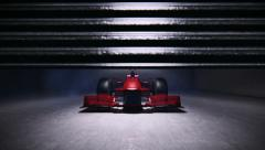 Formula 1 racing car in the pit - stock footage