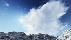 Helicopter flying in the snow Stock Footage