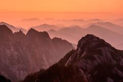 huangshan sunsets - stock photo