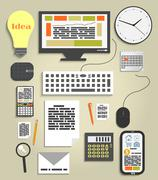 Workplace office and business work elements set Stock Illustration