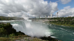 Niagara falls on a cloudy day wide angle Stock Footage
