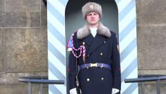 Guard standing motionless at Prague Castle Stock Footage