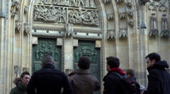 Door to Cathedral of St. Vitus tilt at Prague Castle Stock Footage