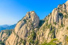 huangshan mountains and trees - stock photo