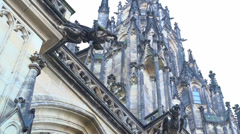 Gargoyle at St. Vitus Cathedral slow motion Stock Footage