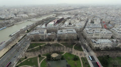 Looking down at Paris city from above Stock Footage