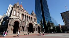 Trinity Church in Copley Square wide angle shot Stock Footage