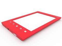 Red ebook reader - stock illustration