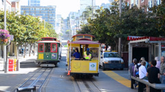 Cable car with tourists in San Francisco, USA. Stock Footage
