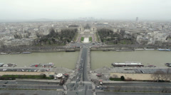 Esplanade du Trocadero seen from Eiffel Tower above Stock Footage