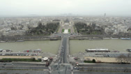 Stock Video Footage of Esplanade du Trocadero seen from Eiffel Tower above