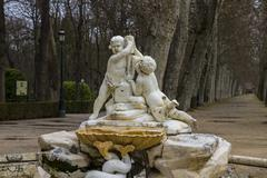 ornamental fountains of the palace of aranjuez, madrid, spain - stock photo