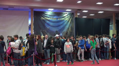 People standing in line, event in gaming zone, East European Comic Con Stock Footage