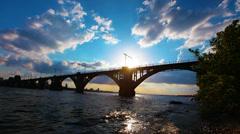 Bridge over the river. 4K. FULL HD, 4096x2304. Stock Footage
