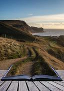 Book concept sunrise landscape along coastal path unesco world heritage site Stock Illustration