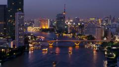 Dusk Time Lapse of River in Bangkok, Thailand Stock Footage