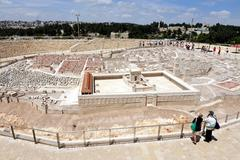 holyland model of jerusalem - stock photo