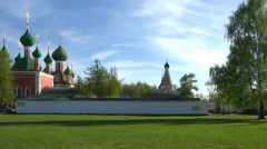 Convent in Pereslavl-Zalesski, one of Golden Ring towns of Russia. Panning shot. Stock Footage