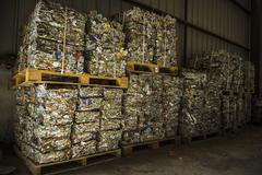 Stock Photo of recycle plant. process of separation of garbage, plastics, cans, metals, orga
