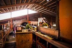 selection and separation of garbage, men and women working at recycling cente - stock photo