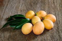 Exotic thai fruit, marian plum Stock Photos