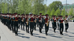 Kremlin brass band at the ceremony laying flowers Stock Footage