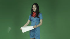 Air hostess young asian adult woman isolated on green-screen background smiling Stock Footage