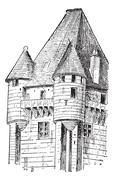 Turrets, vintage engraving. - stock illustration
