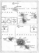Map of Tahiti Island vintage engraving - stock illustration