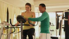 2of12 People in hotel gym, fitness club, sports Stock Footage