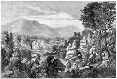 Ardeche river limestone rock formations, Ardeche region, France, - stock illustration