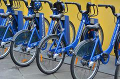 melbourne bike share - stock photo