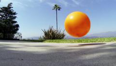 Orange Ball Bouncing - Slow Motion (60 Frames Per Second) - stock footage