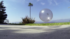 Clear Ball Bouncing - Slow Motion (48 Frames Per Second) Stock Footage