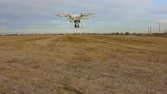 DRONE LONG :30 SEC HD CLIP QUAD-COPTER REMOTE RADIO CONTROLLED FLYING MACHINE Stock Footage