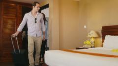 8of12 People, man, woman in resort, hotel room, having fun, leisure Stock Footage