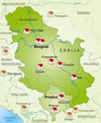 map of serbia as an infographic in green - stock illustration